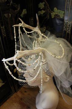 Artemis Bride -  Antler, Pearl, Crystal and Leather Headress