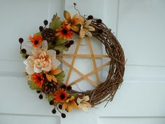 Mabon Wreath, Pentacle Wreath, Fall Wreath, Grape Wreath, Autumn. $22.99, via Etsy.