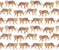 Watercolor Tigers - Peach by Andrea Lauren fabric by andrea_lauren on Spoonflower - custom fabric