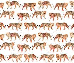 Watercolor Tigers - Peach by Andrea Lauren fabric by andrea_lauren on Spoonflower - custom fabric