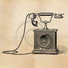 Vintage Telephone Illustration Printable by SilverSpiralStudio