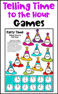 These fun games are great for learning time to the hour. Perfect for Kindergarten or First Grade there are games, cut and paste activities and color by code activities also to provide a variety of activities for telling time to the hour. Telling Time Activities, Learning Time, Time To The Hour, Cut And Paste Worksheets, Math Classroom, Fun Games, Teaching Resources, Party Time, Kindergarten