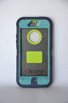 Otterbox Case iPhone 5 Glitter Cute Sparkly Bling Defender Series Custom Case Blue Topaz/ Blue on Etsy, $45.99