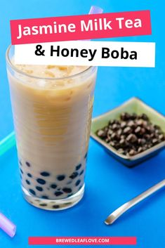 Delicious bubble tea recipe that you can make at home.  This recipe for jasmine milk tea with honey boba is just as good at the one you get at your local tea shop. Milk tea, bubble tea or boba tea, they're all delicious. Jasmine Pearl Tea, Milk Tea Recipes, Lactose Free Milk, Bubble Milk Tea, Japanese Street Food, Vietnamese Dessert, Tea Gifts, Tea Benefits