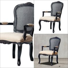 This accent chair exudes a timeless charm with its black, hand-rubbed finish accented by beautiful hand-carved motifs. It also features padded armrests and seat to give you the best comfort while the cane back and cabriolet legs give the chair makes it striking. Materials: Made from solid hardwood, cane and cream linen upholstery.