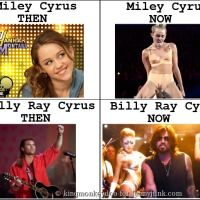Celebs Then Vs Now # 1 The Cyrus Family Point well made. A bit of wildness runs in the blood AND dad's got nothing on Miley. Then Vs Now, Celebrities Then And Now, I Laughed, Laughter, Projects To Try, Places To Visit, Funny Pictures, At Least, Lol