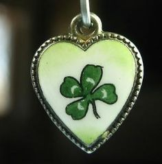 Victorian Enameled Puffy Heart with Clover by leslie