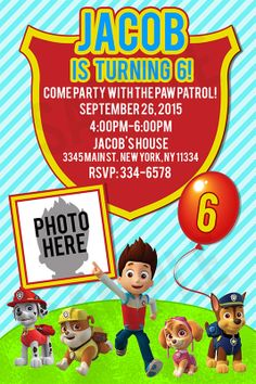 Paw Patrol Birthday Invitation Personalized With By Instantparty 1150