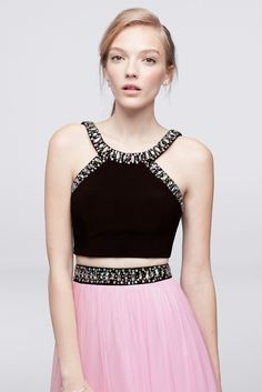 505e6216 Beaded Halter Neck Long Two Piece 57323 Jersey and Tulle Dress Tulle Dress,  Dress P