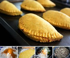 Jamaican Beef Patties - mix 1 Tbs vinegar + 1 egg with ice water.  Divide dough into balls, roll each one as thin as possible and fold over several times before rolling again to make patties - this creates a flaky crust.