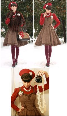 My Own Work Brown Wool Tweed Dress, Antique's Store Vintage Mink Stole, Ebay Burgundy Floral Socks, Naturalizer Brown Heels, Thifted Red Turtleneck, Lisner Vintage Necklace, Lisner Vintage Pin, Lily Of The Valley Sugared Strawberry Corsage, Thrifted Tapes