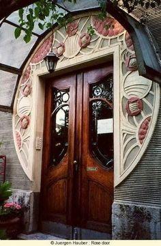 Art Nouveau - Art Deco Door, architecture, architectural design, buildings, architecture design idea and inspiration. the color of the doors Cool Doors, The Doors, Unique Doors, Entrance Doors, Doorway, Windows And Doors, Front Doors, Grand Entrance, House Entrance