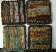 Primitive Hand Hooked  Wool Mug Rugs Set of by MistyPondPrimitives, $32.00