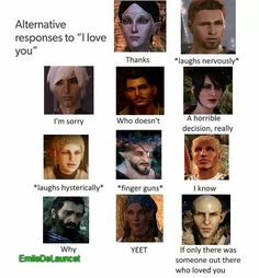I think Solavellan shippers will appreciate the bottom right hand corner. I was laughing until I saw Solas. And then I was crying. Dragon Age Sera, Dragon Age Alistair, Dragon Age 2, Dragon Age Origins, Dragon Age Inquisition, Dragon Age Memes, Dragon Age Funny, Dragon Age Romance, Bioshock Cosplay