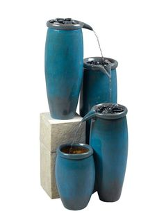 Agua Water Fountain in Blue Glaze Finish