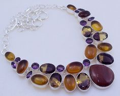 free shipping 97 gram stunning CITRINE-AMETRINE-AMETHYST .925 sterling silver handmade  necklace  free shipping by OCEANJEWELLERS on Etsy