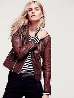 Free People Scarlet Note Leather Biker Jacket, ¥77889.50