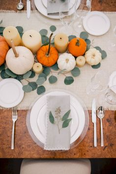 Our Thanksgiving Table + Terrain Giveaway Outfit Details: J.Crew Top & Pants Even though Thanksgiving is still two weeks away, I've been getting excited and planning out what I'm making, what I'm using as decor and what … Hosting Thanksgiving, Thanksgiving Table Settings, Thanksgiving Centerpieces, Thanksgiving Parties, Holiday Tables, Thanksgiving Wedding, Fall Wedding, Holiday Decorations Thanksgiving, Pumpkin Wedding Centerpieces