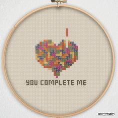 Tetris You Complete Me Cross Stitch Pattern by StitchBucket