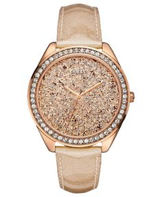 GUESS Watch, Womens Peach Glitter Patent Leather Strap 45mm U0155L1 - All Watches - Jewelry & Watches - Macys