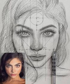 """Find the free Face Proportions Guidance in my board """"How to Draw. How I Draw"""". Art Drawings Sketches Simple, Pencil Art Drawings, Realistic Drawings, Drawing Art, Drawing Tips, Charcoal Drawings, Beautiful Pencil Sketches, Face Drawings, Fantasy Drawings"""