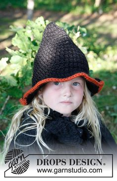 Merlina / DROPS Extra 0-779 - Crochet DROPS Halloween witch's hat in Eskimo.