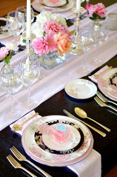 Marchesa's 'Painted Camellia' Dinnerware, Imperial Caviar Table setting with Table + Dine by Stefanie of The Style Safari, easter entertaining, easter table bridal shower, sugarfina gift boxes, champagne bears