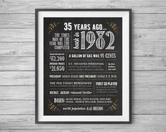 35th Birthday or Anniversary Sign Printable 8x10 and by NviteCP, , 35th Birthday, 35th Anniversary, 1982 sign, 35th