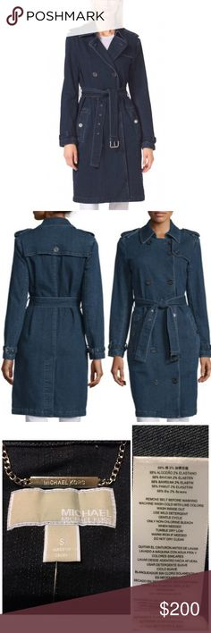 CCO!! Michael Kors Denim Trench Hello Autumn! Chic Michael Kors Huston Wash Denim Trench with Silver toned hardware. 38in long. Heavy weight. Perfect with high heel mid calf boots. No trades. Open to reasonable Offers. Low ball offers not considered. MICHAEL Michael Kors Jackets & Coats Trench Coats