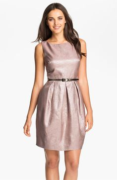 Eliza J Belted V-Back Jacquard Tulip Dress available at Nordstrom