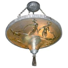 Art Deco Hanging Mermaid Lamp by M. Verdur France 1930's: