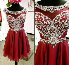 Burgundy Beading Real Made Lace A-Line Short/Mini Prom Dress,Homecoming Dress,Graduation Dress,Party Dress F62