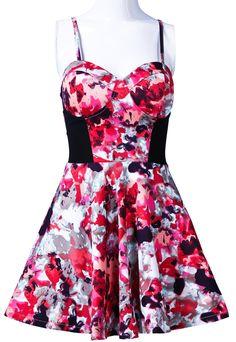 Red Spaghetti Strap Strapless Floral Ruffles Dress