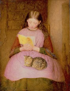 A good book and cat!    A Quiet Moment  Edward Thompson Davis.   English (1833-1867)