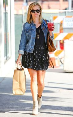 Reese Witherspoon outfit. Jeans jacket, skirt and ankle boots