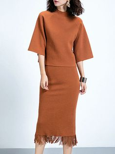 Shop Midi Dresses - Camel Two Piece Stand Collar Casual Viscose Midi Dress online. Discover unique designers fashion at StyleWe.com.