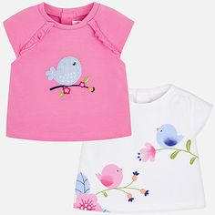 Short sleeved t-shirt set for newborn girl Bubblegum - Mayoral Newborn T-shirts Shirts For Girls, Short Sleeves, Baby, T Shirt, Clothes, Women, Girl Outfits, Gifts, Fashion