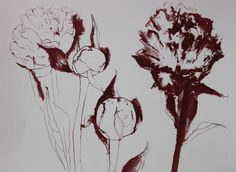 initial print made from several sketches of Peony rose..