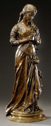"""""""Hippolyte Moreau(XIXe-XXe siècles-19de - 20ste eeuw)  La tricoteuse  Bronze patiné."""