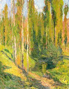 Henri Martin (French, 1860-1943) Etude de peupliers