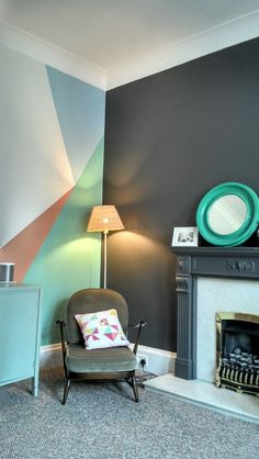 Geometric painted wall idea, gives new dimension to space and can make each room have its own character with color and design. www.happyretro.co.uk