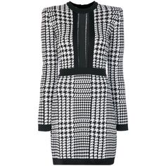 Balmain Black/White Pepita Houndstooth Dress ($2,090) ❤ liked on Polyvore featuring dresses, black, white and black dress, balmain dress, longsleeve dress, short dresses and form fitting dresses