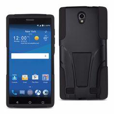 Reiko Silicon Case+Protector Cover Zte Zmax 2 Z958 Black New Type Kickstand