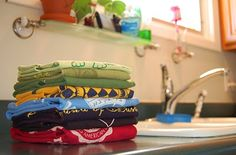 Recycle old 100% cotton t-shirts into kitchen towels. That could be fun!