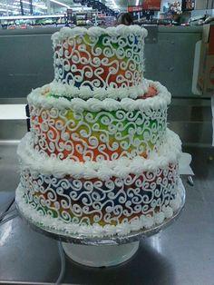 Tie dye wedding cake