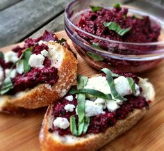 Beet Pesto Crostini from Dishing Up the Dirt