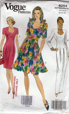 Vogue Sewing Pattern 8254; ©1992; Evening Dress Dropped Waist Shaped Neckline, Size 12-14-16, FF - New Vintage Studio