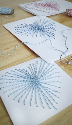 Idee Cadeau Fete Des Peres 2019 - How to Make Hand-Sewn Greeting Cards Diy And Crafts, Crafts For Kids, Paper Crafts, Bakers Twine, Mom Day, Mother's Day Diy, Mothers Day Cards, Heart Cards, String Art