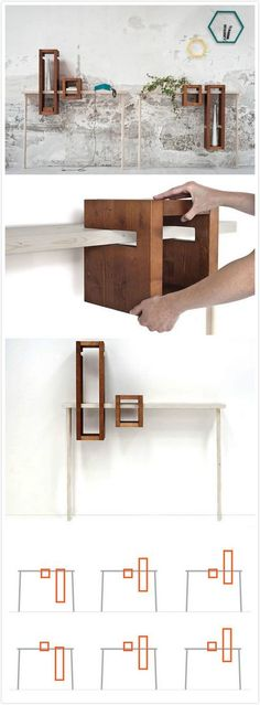 modular console table with hanging shelves #design #home // Tisch mit hängenden Regalelementen #Regal