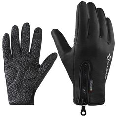 RockBros Cycling Winter Mountain Bike Motorcycle Windproof Touch Screen Gloves Fleece Thermal Anti-Skid Full Finger Gloves Black Small. Durable:High-strength Polyester,Spandex fabric. Thermal and Comfortable:high quality double polar fleece. Convenient:Resin teeth zipper design can be adjusted easily and keep warm. Touch Screen: Index finger and thumb are added with sensitive conducting fibre,can use with smartphone, media player, PC, Bank ATM, etc. Anti-skid silica gel particles: Thick…
